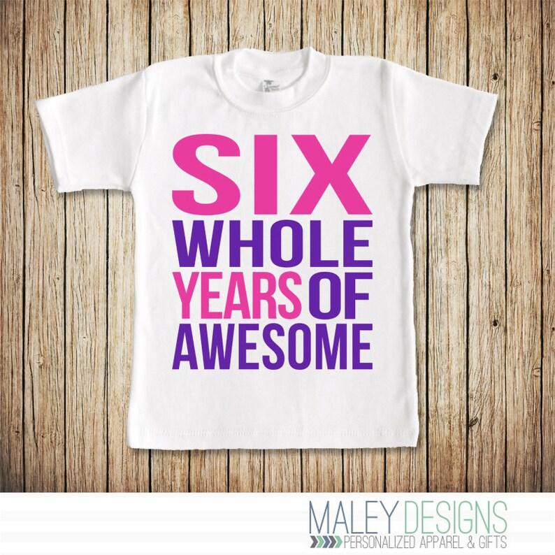 6th Birthday Shirt Girl 6 Year Old Six