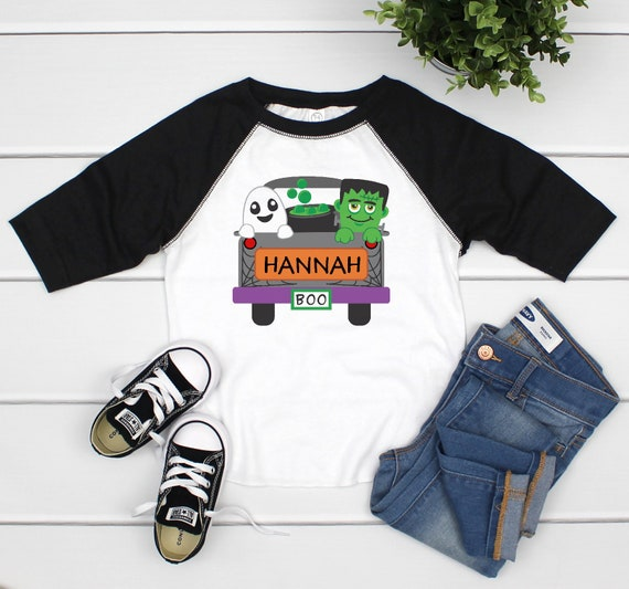 Personalized Halloween Shirts for Girls Halloween Truck Shirt Personalized Halloween Shirts Toddlers Halloween Shirt Girl Personalized