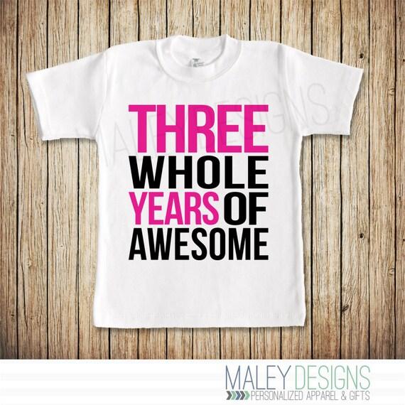 Third Birthday Shirt Girl 3rd Three