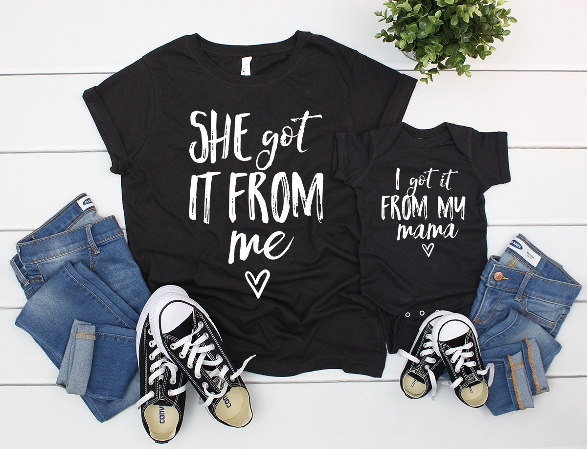 Matching Mother Daughter Outfits Mommy And Me Mom Etsy Tendencies Tshirt Washed Pocket Nv Navy S