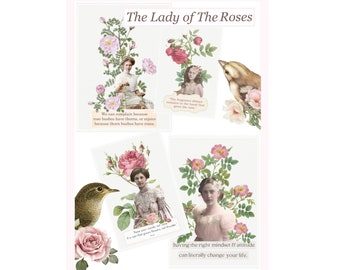The Lady of The Roses #3 Journaling Cards. Digital printable. Instant download. junk journal.