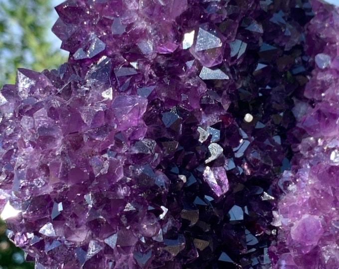 9.2 lb Polished Deep Purple Uruguay Amethyst geode Specimen With large stalactite formation
