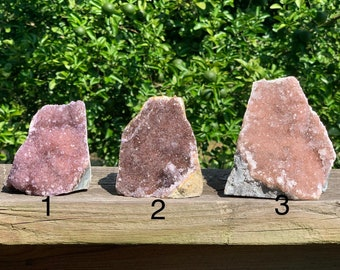 Raw Uruguay Pink Amethyst Druze Cluster with cut base