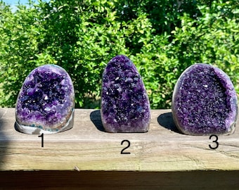 Grade AAA Polished Uruguayan Amethyst Geode Cluster with cut base