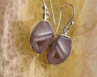 Mini 925 sterling silver Tabasco geode earrings