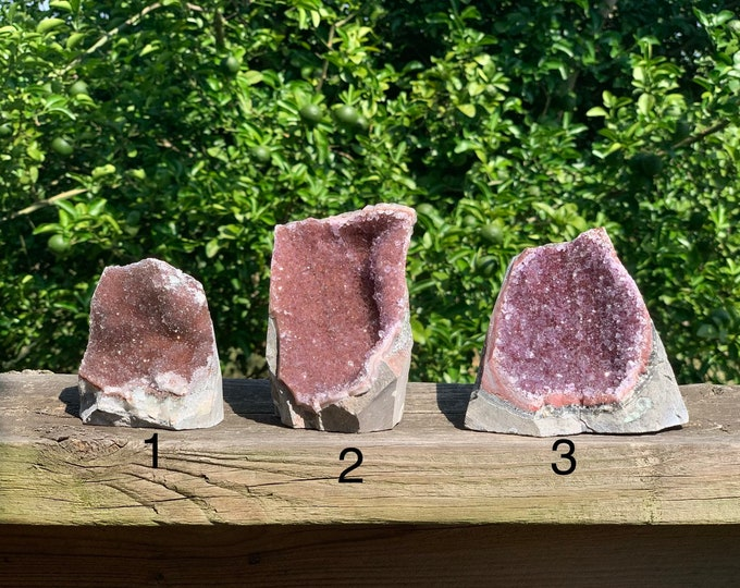 Raw Uruguay Pink / Red Amethyst Druze Cluster with cut base