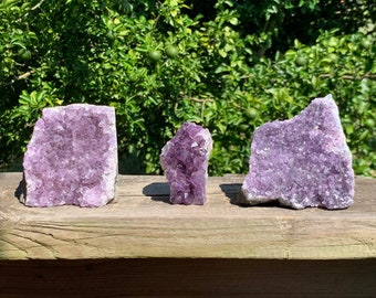 Set of 3--2.6 lb raw Amethyst clusters With Cut Base
