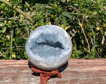 """3.1"""" 1.77 Pounds/804g natural blue Celestite geode sphere + Free wood tripod display stand."""