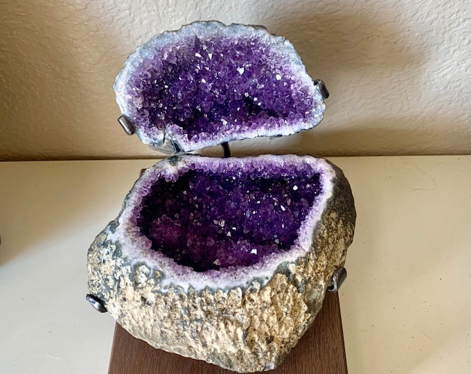"Rare amethyst geode "" Jewelry Box""--Grade AAA amethyst geode formation with customized wrought iron and wood stand"