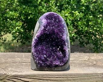 "5.7"" Grade AAA Beautiful polished purple Amethyst Geode with cut base --Artigas Uruguay"