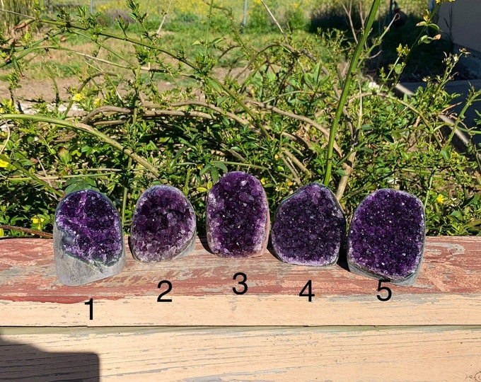Polished Grade AA Uruguayan Amethyst Geode Cluster with cut base