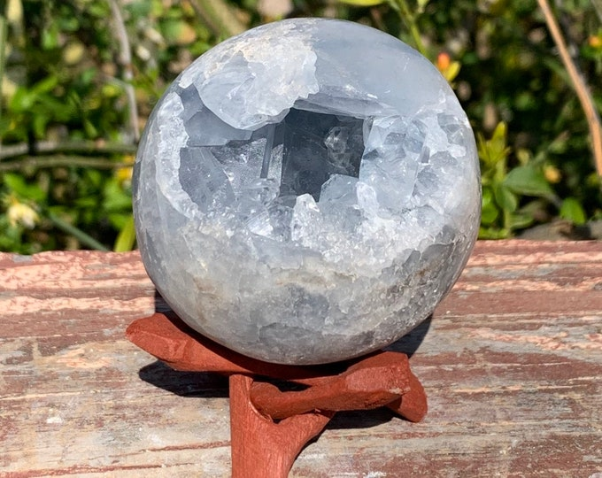 59mm 13.4oz/380g natural blue Celestite geode sphere + Free wood tripod display stand.
