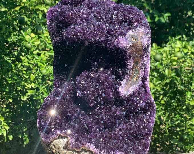 "19.3 lbs, 11.3"" LARGE Grade AAA Cut base display Amethyst Stalactite formation /specimen --Artigas Uruguay"