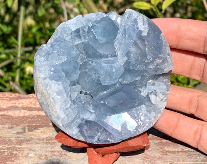 15oz  natural blue Celestite geode sphere + Free wood tripod display stand.