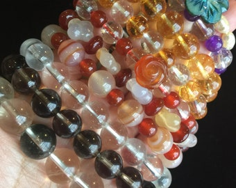 Customized Gemstone Bracelet for Him or Her—Choose from Citrine, Amethyst, Quartz Cystal, Agate plus more