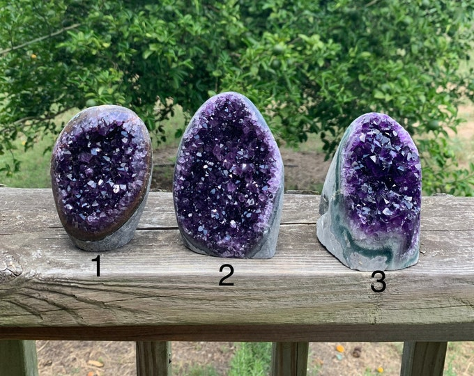 Polished Grade AAA Uruguayan Amethyst Geode Cluster with cut base