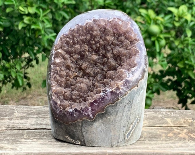 3.8 lb gallery quality Amethyst Specimen with goethite formation and beautiful lusters- Artigas Uruguay