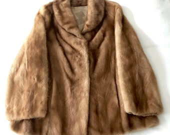 Mint Vintage Real Mink Trim Red Fur Coat with pockets 50s 60s Saks Fifth Avenue 100/% Wool Glamour
