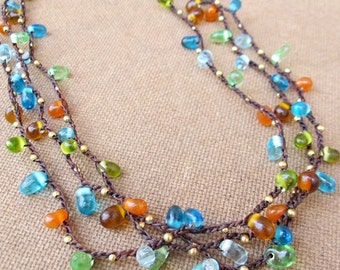 Multi Strand Crochet Necklace with Colourful Glass Bead and Brown Wax cord