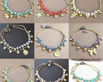 Charms Ankle Bracelet - Charm Anklet, Anklet, Anklet Bracelet, Beach Anklet, Women Anklet, Stone Anklet,Beach Anklet, Oriental Anklet