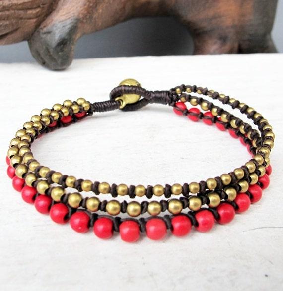 minorista online 6aabd 79157 Nudo por Perla pulsera - pulsera de nudo de serpiente de tres líneas con  bolas de Coral bronce 4mm