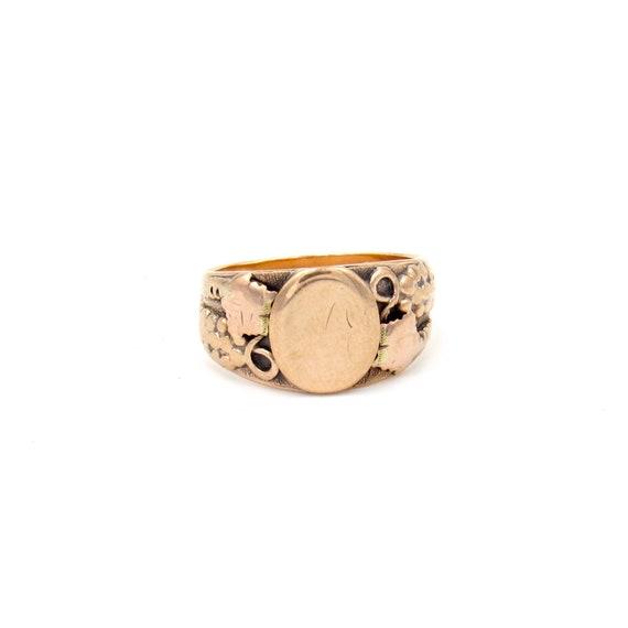 Antique 10k Gold Signet Ring   Art Nouveau Rose Go