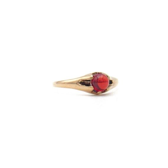 Victorian 10k Gold Garnet Ring   Antique Rose Gol… - image 2