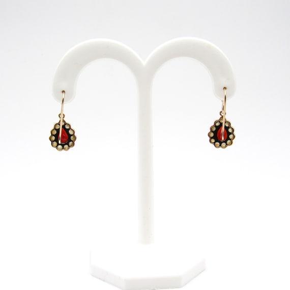 Vintage 9k Gold Garnet & Seed Pearl Earrings   Vi… - image 5