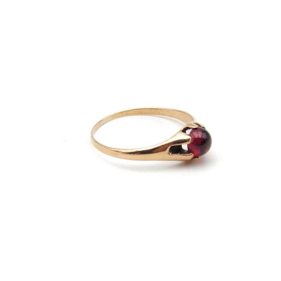 Victorian 10k Gold Garnet Ring   Antique Rose Gol… - image 6