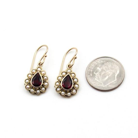 Vintage 9k Gold Garnet & Seed Pearl Earrings   Vi… - image 8