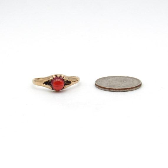 Victorian 10k Gold Garnet Ring   Antique Rose Gol… - image 8