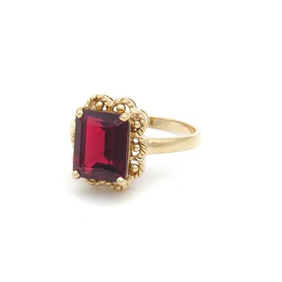 Vintage 9k Gold Garnet Ring   Yellow Gold Garnet … - image 2
