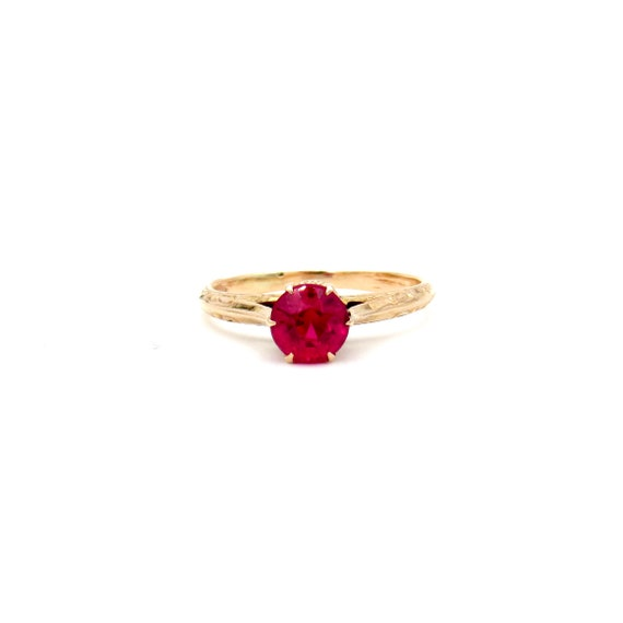 Antique 10k Gold Ruby Ring | Edwardian Yellow Gold