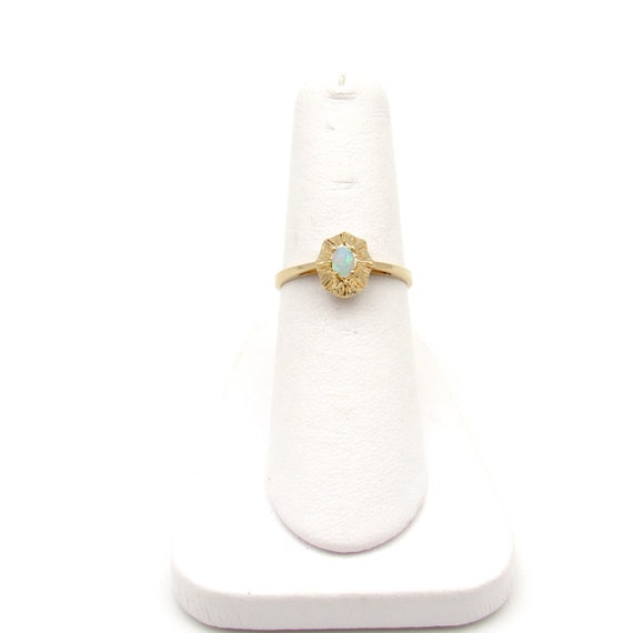 Vintage 14k Gold Opal Ring   Yellow Gold Opal Sol… - image 9