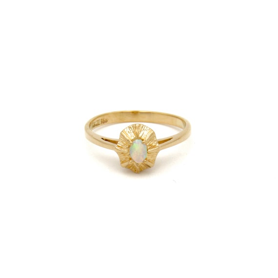 Vintage 14k Gold Opal Ring   Yellow Gold Opal Sol… - image 4
