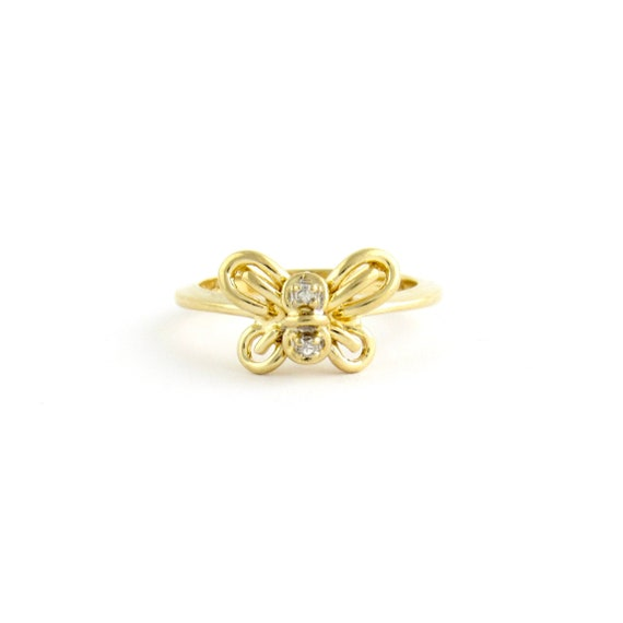 Vintage 14k Gold Diamond Butterfly Ring | Yellow G