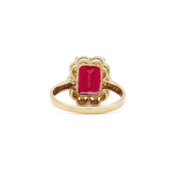 Vintage 9k Gold Garnet Ring   Yellow Gold Garnet … - image 7