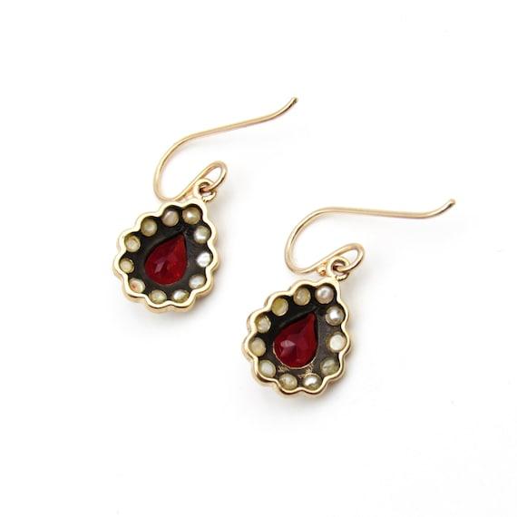 Vintage 9k Gold Garnet & Seed Pearl Earrings   Vi… - image 6