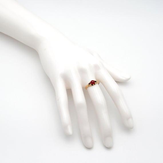 Victorian 10k Gold Garnet Ring   Antique Rose Gol… - image 10