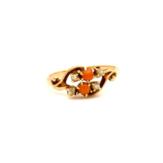 Antique Victorian Gold Coral & Seed Pearl Ring | A