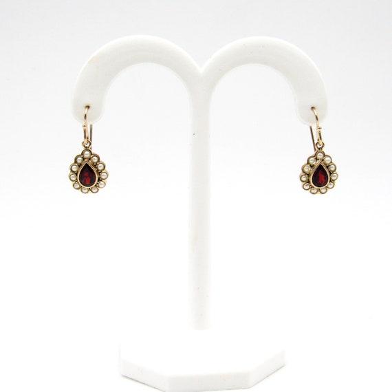 Vintage 9k Gold Garnet & Seed Pearl Earrings   Vi… - image 4