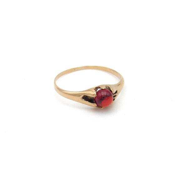 Victorian 10k Gold Garnet Ring   Antique Rose Gol… - image 4