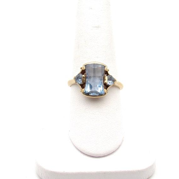 Vintage 10k Gold Blue Topaz Ring   Retro Yellow Go