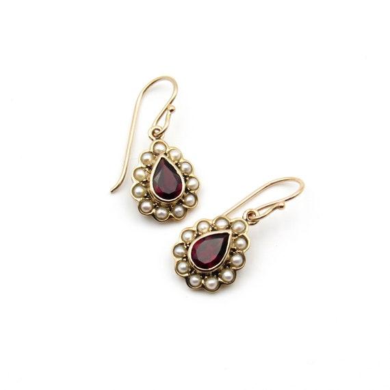 Vintage 9k Gold Garnet & Seed Pearl Earrings   Vi… - image 2