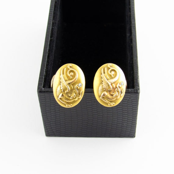 Gold Dragon Cufflinks Vintage Chinese oriental Asian Figural Mythical Creature Novelty Wedding fantasy cuff links Pioneer