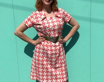 ccedf1fa2f29 Kitsch Crimplene 60's/70s Dress With All The American Diner Waitress Vibes
