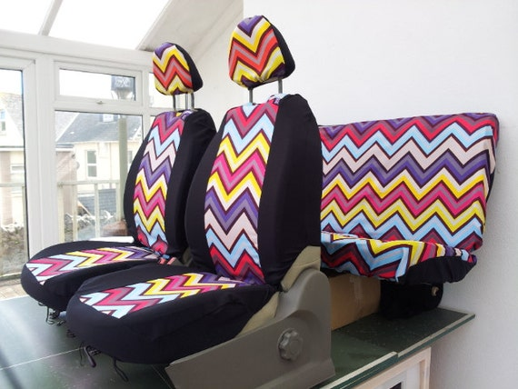Prime Set Of Car Seat Covers Front And Rear Covers Chevron Design Fabric Protective Car Cover English Print With 4 X Head Rest Covers Candy Pabps2019 Chair Design Images Pabps2019Com