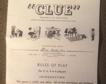 Original Clue The Board Game Rules Of Play Paper 1950