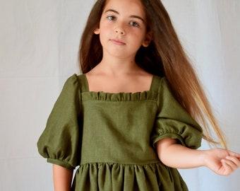 Olive linen dress puffed sleeve girl