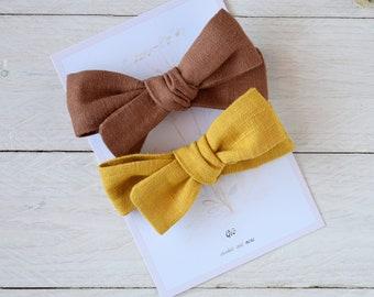 Linen bow, Baby headband, Bow clips